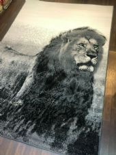 Animal Rugs Approx 8x5ft 160x230cm  New Lion Design Rugs Grey-Cream Good Bargain